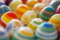 Easter eggs hand painted. Beautiful background of Easter eggs hand painted Royalty Free Stock Photography
