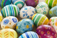 Easter eggs hand painted. Beautiful background of Easter eggs hand painted Stock Image