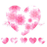 Beautiful  background with flower pink hearts. Greeting card. Ve Stock Photo