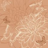 Beautiful background with flowers dahlia and butterflies Royalty Free Stock Photos