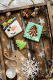Beautiful background with gingerbread cookies. Modern food still life, Christmas holiday card, rustic background Royalty Free Stock Photography