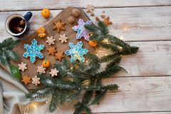 Beautiful background with gingerbread cookies Stock Photo