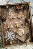 Beautiful background with gingerbread cookies. Modern food still life, Christmas holiday card, rustic background Stock Images