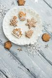 Beautiful background with gingerbread cookies. Modern food still life, Christmas holiday card, rustic background Stock Photos