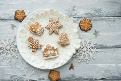 Beautiful background with gingerbread cookies. Modern food still life, Christmas holiday card, rustic background Royalty Free Stock Photos