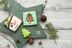 Beautiful background with gingerbread cookies. Modern food still life, Christmas holiday card, rustic background Royalty Free Stock Images