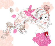 Beautiful  background with girl and flowers. Beautiful hand drawing background with girl and flowers Stock Photo