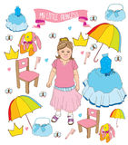 Beautiful background with the girl and set for your little Princess. Colorful, beautiful background with the girl and set for your little Princess,dress,crown Stock Photos