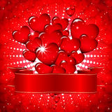 Beautiful background with glowing hearts. Stock Photos