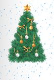 Christmas beautiful greeting card tree stock illustration