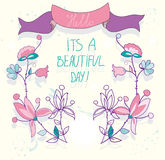 Beautiful background greeting card with flowers and ribbon and the inscription day Stock Photos