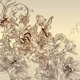 Beautiful  background with hand drawn flowers Royalty Free Stock Images