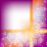 Beautiful background with hearts and circles. Beautiful orange, purple and white background with hearts and circles Royalty Free Stock Photography