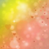 Beautiful background with hearts. Colorful valentine illustration with hearts and bokeh effect Stock Photos