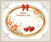 Beautiful background with hearts and lilies with a red bow on Valentine's Day Royalty Free Stock Image