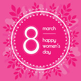 Beautiful background for international womens day. Pink color. Floral wreath of leaves. Stock Photo