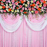 Beautiful background made from fabric and flowers Royalty Free Stock Image