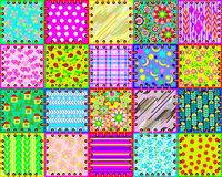 Beautiful background made from a set of cloth pieces with different ornaments for coverlet. Seamless pattern. Stock Photos