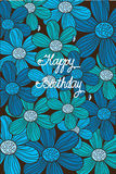 Beautiful background with pattern of blue flowers. Beautiful bright background with a pattern of blue flowers and with the inscription happy birthday Royalty Free Stock Photo
