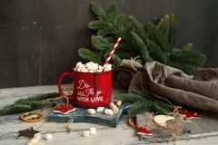 Beautiful background with red mug and cacao. Modern food still life, Christmas holiday card, rustic background Royalty Free Stock Photo