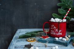 Beautiful background with red mug and cacao. Modern food still life, Christmas holiday card, rustic background Royalty Free Stock Images