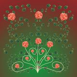 Beautiful background. With roses and leaves vector illustration