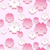 Beautiful background seamless pattern, 3d sakura blossom. Beautiful trendy background seamless pattern with pink - white blossoming 3d flower sakura - japanese stock illustration