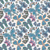 Beautiful background seamless pattern with flying colorful butterflies over white.Trendy wallpaper. Vector illustration Stock Photos