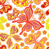 Beautiful background seamless pattern with flying colorful butterflies over white. Trendy wallpaper. Vector illustration Stock Photography