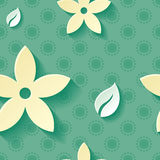 Beautiful background seamless pattern green with yellow blossoming flower and white leaf. Floral modern wallpaper. Royalty Free Stock Image