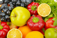 Beautiful background of set of vegetables and fruits Stock Photo