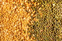 Lentils. Beautiful background shot of two types of lentils Stock Photo