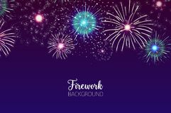 Beautiful background with spectacular fireworks bursting in dark night sky. Backdrop with festive colorful flashing. Lights. Holiday event celebration Stock Images