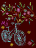 Beautiful background with tree and bicycle. Beautiful background with tree, flowers and bicycle, illustration Stock Photography