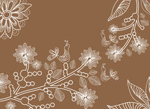 Beautiful background with tree branch and birds. Illustration Royalty Free Stock Images
