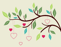 Beautiful background with tree branch and hearts. Valentine illustration Royalty Free Stock Photos