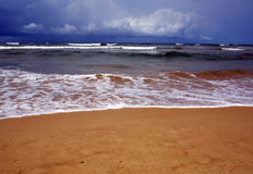 Beautiful background of  tropic ocean beach. And  wave line from on yellow tropic ocean beach Stock Photos