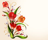 Beautiful background with tulips. Beautiful floral background for inscriptions with tulips royalty free illustration