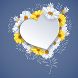 Beautiful background on Valentine's Day. Beautiful vector background on Valentine's Day with luxury flowers daisy and white paper heart shape Royalty Free Stock Photo