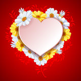 Beautiful background on Valentine's Day. Beautiful vector background on Valentine's Day with luxury flowers daisy and white paper heart shape Royalty Free Stock Image