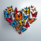 Beautiful Background With Valentine's Heart of Butterflies Stock Image