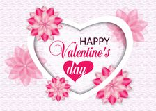 Beautiful background Valentines day with heart and flowers. Vect. Or illustration Stock Photo
