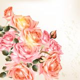 Beautiful  background in vintage style with  rose  flowers. Vector cute pink roses in vintage style for design Royalty Free Stock Images
