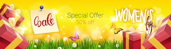 Beautiful Background Womens Day Sale Discount Card Promotion Template Poster Design. Vector Illustration Stock Image
