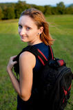 Beautiful backpacker girl Royalty Free Stock Photography