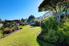 Beautiful backyard landscape design Stock Photo