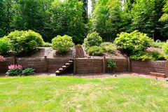 Beautiful backyard landscape and garden view Royalty Free Stock Images