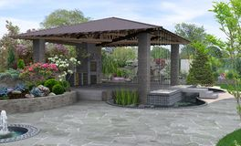 Free Beautiful Backyard Makeovers And Patio Water Fountain Features, 3D Render Royalty Free Stock Photo - 140020375