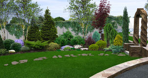 Beautiful backyard makeovers, 3d illustration Royalty Free Stock Photos