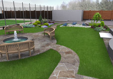 Beautiful backyard makeovers, 3d render Stock Images